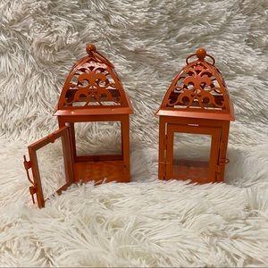 Pair of Orange Mini Lantern Candle Holder
